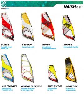 Tablas y velas Naish 2010